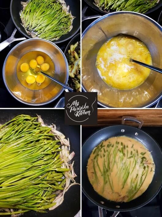 omelette aux asperges des bois pas à pas en photo