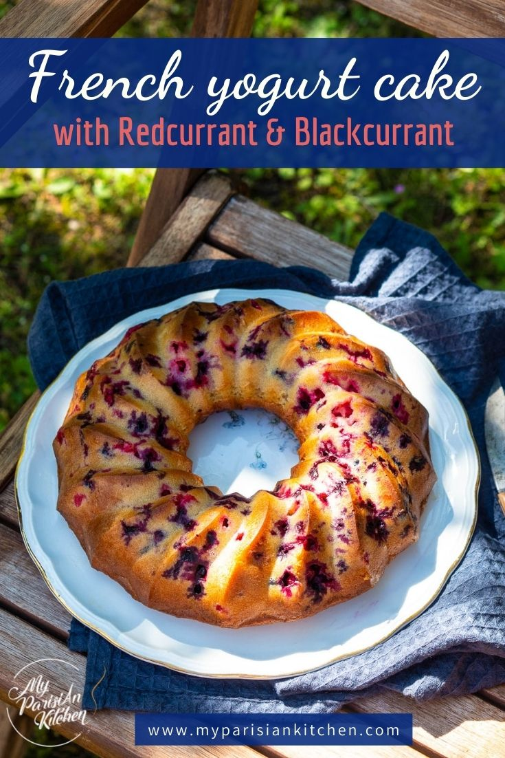 French moist yogurt cake with redcurrant and blackcurrant