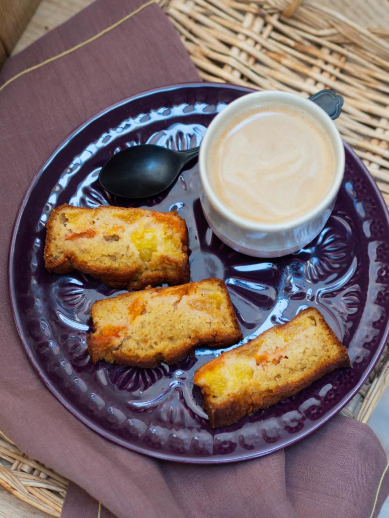 goûter gâteau moelleux abricot et pêche